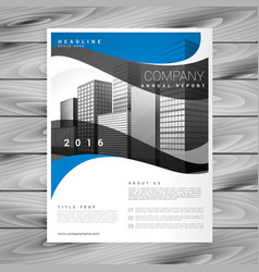 blue wavy stylish business brochure design in vector image vector image