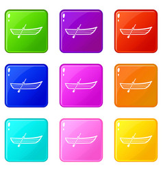 Boat with paddle set 9 vector