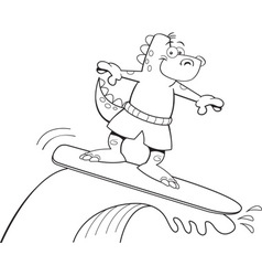 Cartoon dinosaur surfing vector