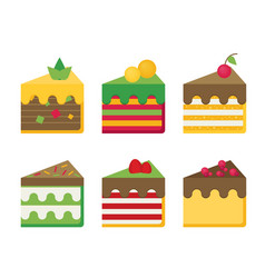 cheesecake flat set vector image
