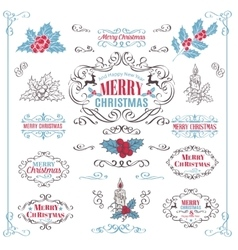 Christmas Calligraphic Retro Design Elements vector image
