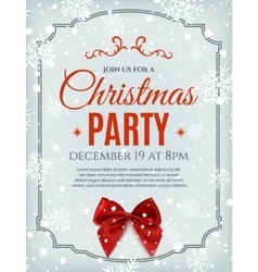 Christmas party poster template with red bow vector image vector image