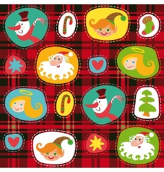 Christmas set plaid tartan pattern background vector image vector image