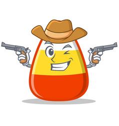 Cowboy candy corn character cartoon vector