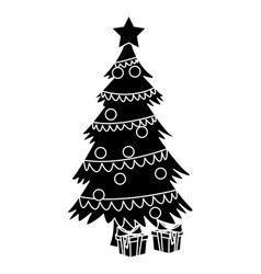 cute christmas tree with giftboxes vector image vector image
