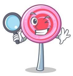 detective cute lollipop character cartoon vector image