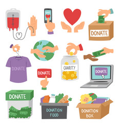 Donate money set outline icons help symbols vector