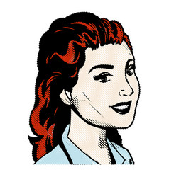 Drawing portrait woman hairred pop art vector