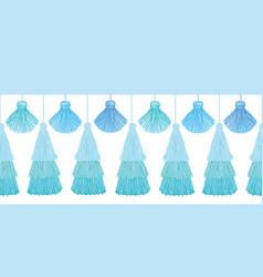 Elegant blue layered decorative tassels set vector