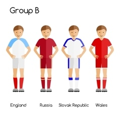 Football team players group b - england russia vector
