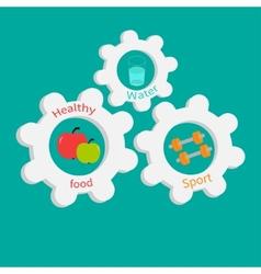 Gear cogwheel set with water apple dumbell healthy vector