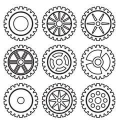Gears set black vector image