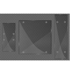 Glass plates set glass banners on transparent vector