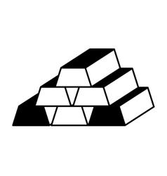 Gold bullion isolated icon vector