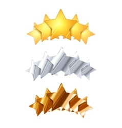 Golden silver and bronze five glossy rating stars vector image