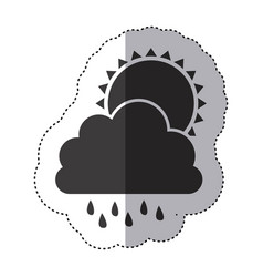 Gray silhouette sticker of cloud with rain and sun vector