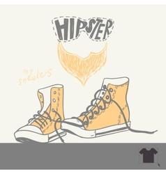 Hand drawn pair of sneakers vector