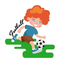 Happy child portrait in sportswear joggling ball vector image