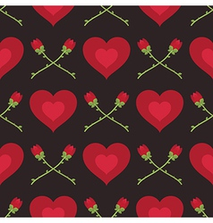 hearts and roses pattern vector image vector image