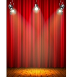 Illuminated empty stage with red curtain vector
