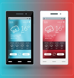 Modern smartphone with weather app on the screen vector