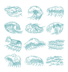 monochrome pictures set of marine waves with vector image vector image