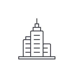Office city building urban skyscraper thin line vector