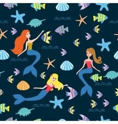 Pattern with cartoon mermaid vector