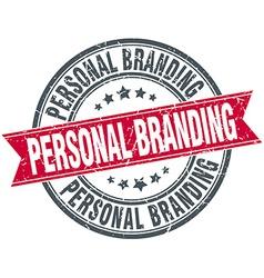 Personal branding red round grunge vintage ribbon vector