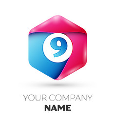 Realistic number nine in colorful hexagonal vector