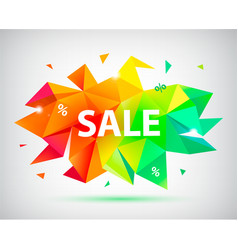 Sale faceted 3d banner poster colorful vector