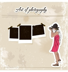 Scrap template with fashion photographer girl vector