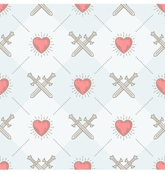 Seamless background with swords and hearts vector image