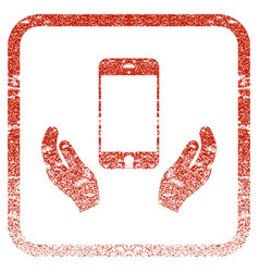 Smartphone care hands framed textured icon vector
