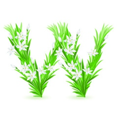 spring flowers alphabet w vector image vector image
