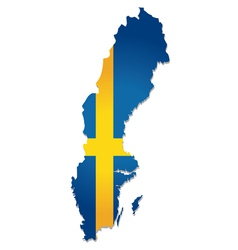 sweden map flag vector image vector image