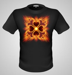 T shirts black fire print man 27 vector