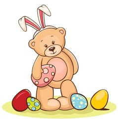 teddy with easter egg vector image vector image