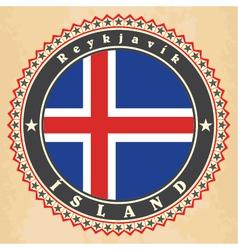 Vintage label cards of iceland flag vector