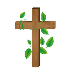 White background with wooden cross and creeper vector