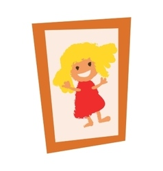 Wooden vintage picture photo frame with girl flat vector
