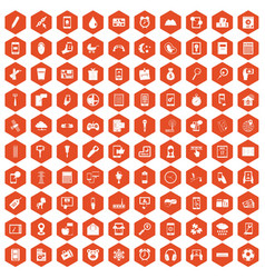 100 mobile app icons hexagon orange vector