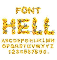 Hell font inferno abc fire letters sinners in vector