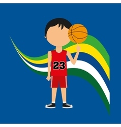 Cartoon basketball player brazilian label vector