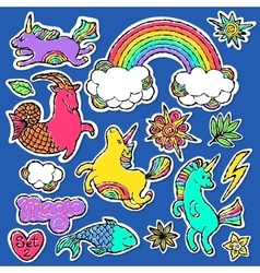 Fashion patch badge elements in cartoon 80s-90s vector