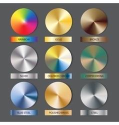 Round cone metal gradients set vector