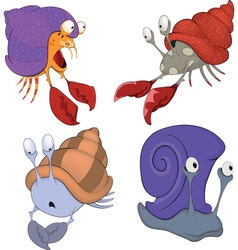 Set of sea crabs and snails cartoon vector