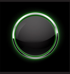 Black button with chrome frame glass button with vector