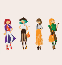 Lovely set young hipster girls drawn in casual vector
