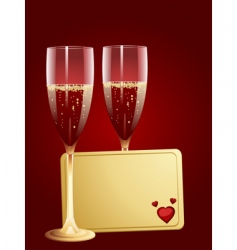 Champagne and valentine message tag vector